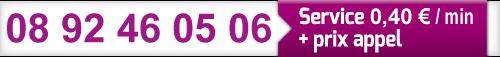08 92 46 05 06, service 0.40€/min + prix appel